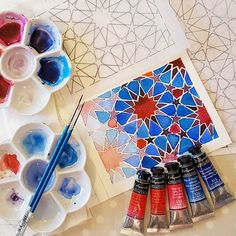 Fingers are replaced by the delightfully intense French artists'… Islamic Art Pattern, Pattern Art, Geometric Designs, Geometric Art, Geometric Patterns, Islamic Paintings, Watercolor Artwork, Painting Art, Arabic Art