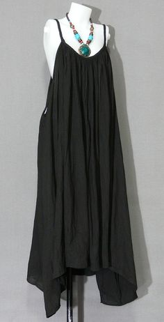 Hand Dyed Black Cotton Plus Size Bohemian by HippieGypsyBohemian, $39.00    With a belt