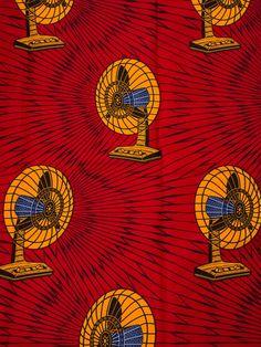 Tissu Africain wax réel imprimé 6 yards motif ventilateur jaunes au fond rouge  rw2324306