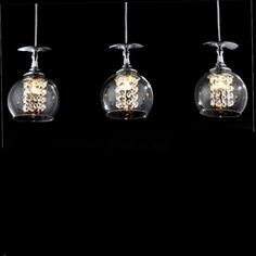 49.99$  Buy now - http://ali2kp.worldwells.pw/go.php?t=32639946154 - Modern Creative Fashion Brief Glass K9 Crystal Goblet Led G4 Pendant Light for Dining Room Living Room AC 80-265V 1355 49.99$