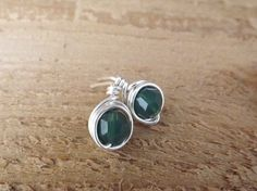 Green opal petite post stud silver wire wrapped by Amayeli on Etsy, $11.00