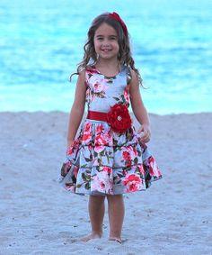 Look at this #zulilyfind! Mia Belle Baby Silver Rose Ruffle Tiered Dress - Toddler & Girls by Mia Belle Baby #zulilyfinds