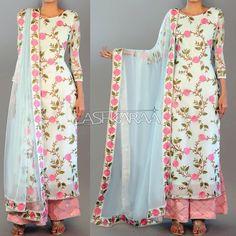 Sky Blue and Light Pink Floral Palazzo Suit Indian Attire, Indian Ethnic Wear, Indian Outfits, Salwar Designs, Blouse Designs, Moda Hijab, Salwar Kameez, Sharara, Churidar