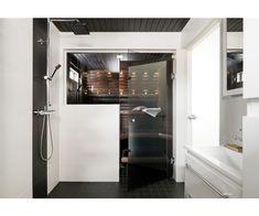 cello, k-rauta, sauna, lasiovi Bathroom Toilets, Washroom, Cello, White Bathroom, French Door Refrigerator, Kitchen Appliances, Black And White, Design, Home Decor