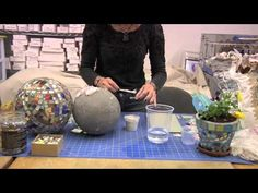 How to Use Thinset to Attach Mosaic Pieces to a Gazing Ball - YouTube