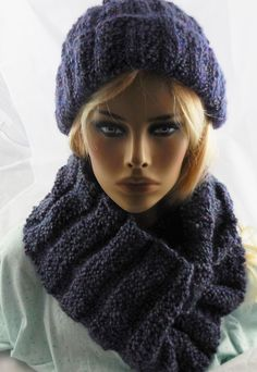 NEW handmade knit COWL INFINITY SCARF HAT Lion Brand Homespun BARRINGTON 62x8 #Handmade #CowlInfinity