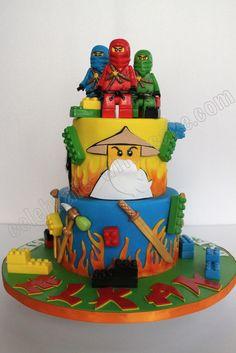 Lego ninja go cake Lego Ninjago Cake, Lego Cake, Ninjago Party, 6th Birthday Cakes, Ninja Birthday Parties, Bolo Lego, Ninja Cake, Lemon And Coconut Cake, Movie Cakes