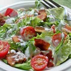 BLT Salad Recipe - Crumbly bacon, chopped tomato, shredded lettuce and a creamy dressing with a hint of garlic - this chopped salad has BLT down pat. Summertime Salads, Summer Salads, The Menu, Salad Places, Blt Salad, Rice Salad, Pasta Salad, Great Recipes, Favorite Recipes