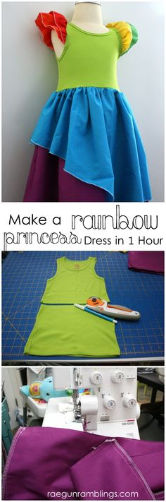 DIY Rainbow Dress Tutorial perfect for St. Patrick's Day or princess parties. Super easy sewing project Rae Gun Ramblings Source by nmburk Sewing For Kids, Baby Sewing, Free Sewing, Fabric Sewing, Sewing Clothes, Diy Clothes, Barbie Clothes, Princess Dress Tutorials, Princess Dresses
