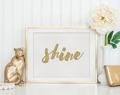 Gold Glitter Print - Wall Art Print - Quote Print - Typography Quote - Wall Decor Art Print - Wall Quote - Printable Art - Printable Quote