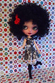 Vestido de encaje negro para muñeca Blythe, pullip