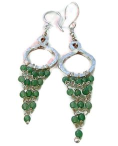 Aventurine  925 Silver Hoop Chandelier Dangle Earrings