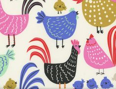 Cluck Cluck Natural - 100% Cotton Quilting Fabric By The Yard