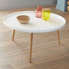 Table basse bicolore plateau rond diamètre 90 cm - Vue 1