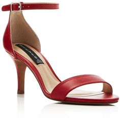 Steven By Steve Madden Vienna Mid Heel Ankle Strap Sandals (76 SGD) ❤ liked on Polyvore featuring shoes, sandals, red, red ankle strap shoes, high heel stilettos, ankle strap sandals, red stilettos and ankle strap shoes