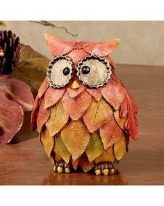 Fall Leaf Owl Table Accent, Orange