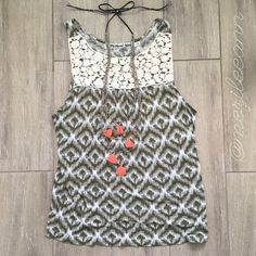 """Michael Stars Lace Ikat Tank This soft, rayon tank is so pretty in person. It's hard to give up. Loose fit. One size fits most. I think small-medium is how it ran for me. I'm usually in between. 18"""" bust flat. 24"""" L. Gently loved. No flaws. Bundle for best deal Michael Stars Tops Tank Tops"""