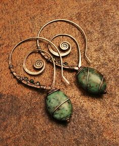 Turquoise+&+Rutilated+Quartz+Swirl+Hoop+Earrings+by+GypsyLotusCo Like the earring wires.