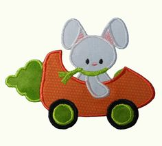 Bunny In Carrot Car Applique Embroidery by NewfoundApplique, $2.49 Need