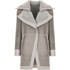 Oversized Lapel Grey Coat | Moda Operandi (12.420 RON) ❤ liked on Polyvore featuring outerwear, coats, grey coat, long sleeve coat, gray coat, fur coat and fur bomber coat