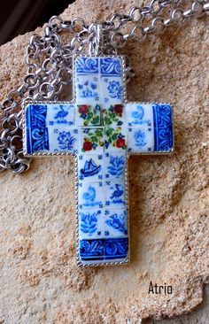 Portugal Large Cross with Antique Azulejo Delft Tile by Atrio