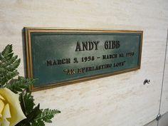 Andy Gibb Andy Gibb Pop Singer - Bee Gee brother Forest Lawn Memorial Park Hollywood Hills, California thanks to the original uploader for this I hope I am ok to use these images. I promise they are for my eyes only - won't be shared with strangers. Hollywood Cemetery, Hollywood Hills, Andy Roy, Forest Lawn Memorial Park, Night Shadow, Thats All Folks, Famous Graves, Andy Gibb, Momento Mori