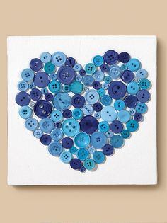 Canvas with button heart   DIY Canvas Art   Heart Button Project Idea from @joannstores   Easy Kids Valentine's Day Project