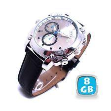 Montre camera espion 8go luxe noire full hd 1080p vision de nuit appareil photo