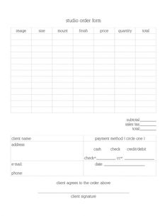 Free #printable #photography Studio Order Form #download On The Inspired  Photographer Blog Http