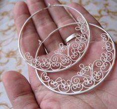 Handmade Filigree Hoop Earrings.