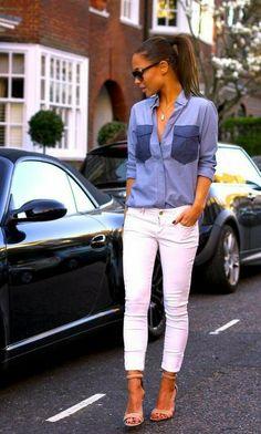 Street Women Fashion Blue Shirt and White Pant