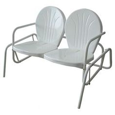 """Retro-style metal patio glider with a white powder finish.  Product: GliderConstruction Material: MetalColor: WhiteFeatures:  Comfortably seats two adultsSuitable for indoor or outdoor use Dimensions: 31.75"""" H x 48.75"""" W x 33.25"""" D"""