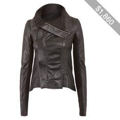 Rick Owens Black Naska Tail Leather Biker Jacket