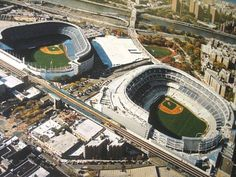 New Yankee Stadium next to the old Yankee Stadium