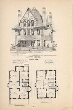 Artistic City House no. 1905 Herbert Chives From the Association for Preservation Technology (APT) - Building Technology Heritage Library, an online archive of period architectural trade catalogs. Select an era or material era and become an archit Victorian House Plans, Vintage House Plans, Victorian Homes, Victorian Interiors, Victorian Era, Architecture Drawings, Architecture Plan, Classical Architecture, Building Plans