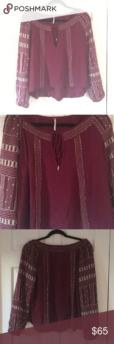 Free People Beaded Blouse Perfect condition. Worn once. Burgundy/red color with silver beads Free People Tops Blouses