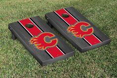 Calgary Flames® NHL® Regulation Cornhole Game Set Onyx Stripe Version