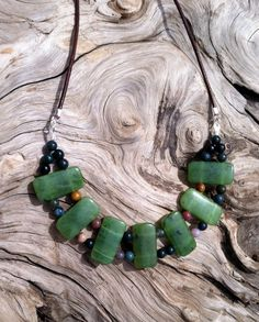 British Columbia Jade, Fancy Jasper and Leather Necklace by SmithNJewels on Etsy