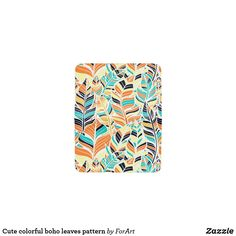 Cute colorful boho leaves pattern card holder