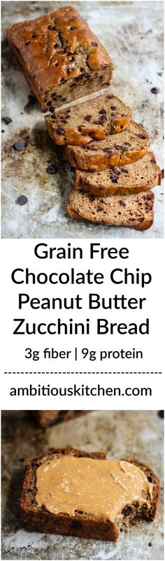 Grain free peanut butter zucchini bread with chocolate chips! There are two options to make it: with coconut flour or with protein powder! Soft, fluffy, moist and a good source of protein & fiber. Substitute with almond butter Gluten Free Baking, Gluten Free Desserts, Gluten Free Recipes, Low Carb Recipes, Dessert Recipes, Bread Recipes, Celiac Recipes, Flour Recipes, Healthy Recipes