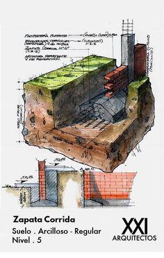 Landscape Architecture Drawing, Brick Architecture, Sustainable Architecture, Architecture Details, Landscape Design, Eco Buildings, Building Foundation, Architectural Section, Construction Design