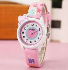 Disney Cartoon Children Watches Girls Quartz Watch Top Brand Frozen Pu Leather Watchband Fashion Girls Frozen Watch Dropshipping In Short Supply Watches