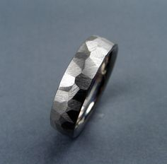 Handmade Titanium Wedding Ring - Freehand Ground Ring. $139.00, via Etsy.