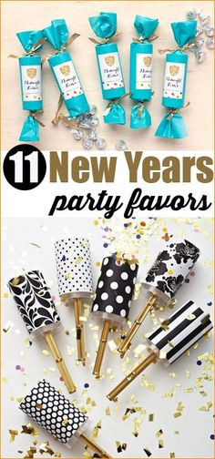 New Years Eve Party.  Celebrate New Years with these great party favor ideas.  DIY confetti, blowers, and noise makers.