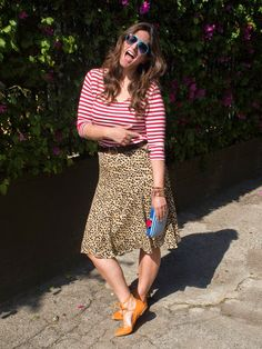 Breton stripes with a leopard print skirt and tie flats. Curvy Fashion, Plus Size Fashion, Fashion Looks, Breton Stripes, Leopard Print Skirt, Short Torso, What I Wore, Your Style, Flats