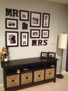 Repinned: Display your wedding photos. Would be a pretty display in the bedroom