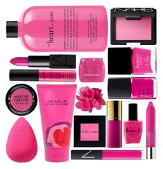 """Fuchsia Beauty II"" by pinkandgoldsparkles ❤ liked on Polyvore featuring beauty, Remington, beautyblender, Marc Jacobs, NARS Cosmetics, Bobbi Brown Cosmetics, Estée Lauder, MAKE UP FOR EVER, Lauren B. Beauty and Clinique"