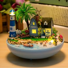 "miniature dolls Miniature Doll House Furniture Toy DIY Plastic Ball Dollhouse Kits,Hot ""Lovers Under the Lighthouse"" Model Building Kit(China (Mainland))"