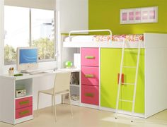 Inspiring Kids Loft Bed Design Ideas : Colorful Kids Loft Bed Furniture With Vivacious Atmosphere