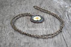 Resin real white daisy flower blossom bronze colored pendant